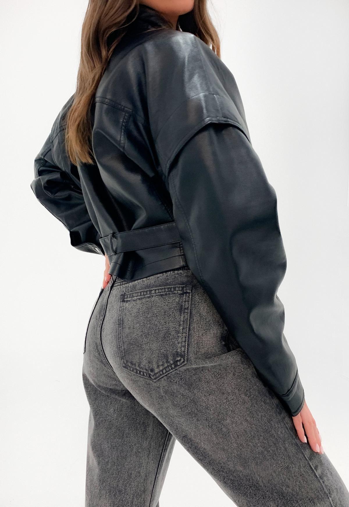 Missguided Black Drop Shoulder Belted Biker Jacket Biker Jacket Faux Leather Biker Jacket Jackets [ 1739 x 1200 Pixel ]