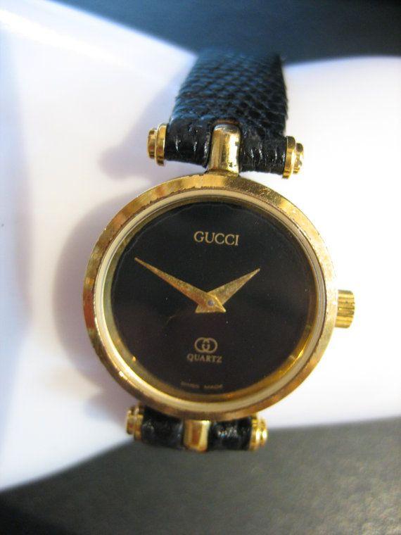 f0db5d3963f Vintage Classic Ladies GUCCI 2000L Black   Gold-Tone Museum Watch ...