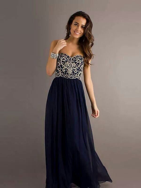 0d0d025b2815 Beautiful navy blue long strapless dress for formal wear. | Clothes ...