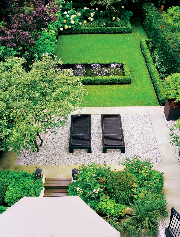 Blick Auf Den Länglichen Garten