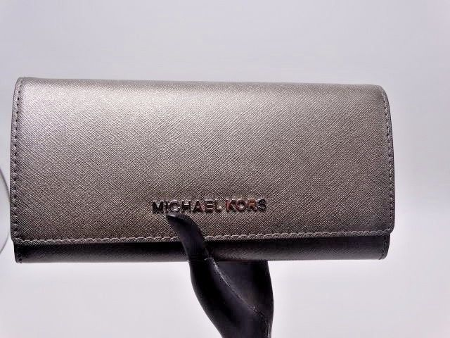 67ec5781da3f NEW Michael Kors Nickel Leather Jet Set Flap Carryall Wallet Purse # MichaelKors #Wallet