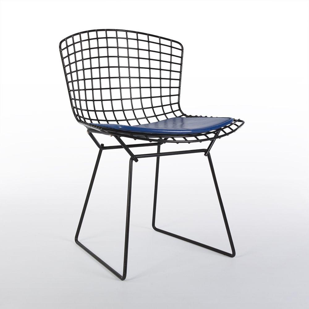 For Sale Original Knoll Black Harry Bertoia Wire Side Chair With Blue Cushion Blau Grun Purpur Magenta