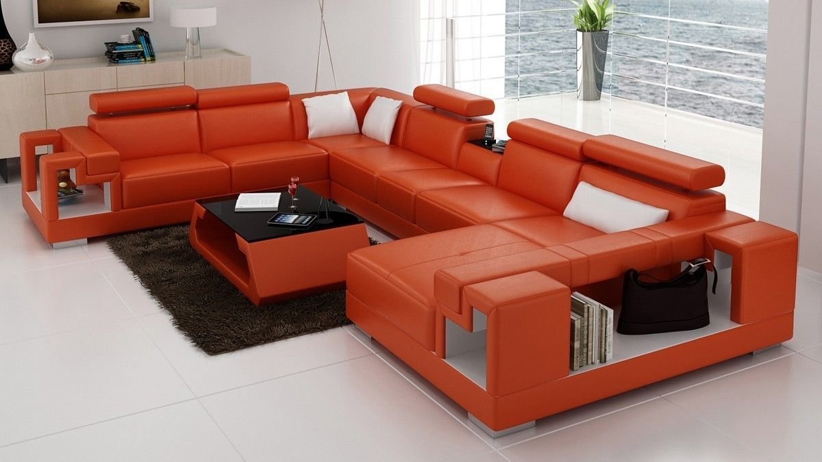 Divani Casa 6138 Modern Orange And White Bonded Leather Sectional Sofa Stylish Design Furniture Living Room Sofa White Sofa Living Room Leather Sofa