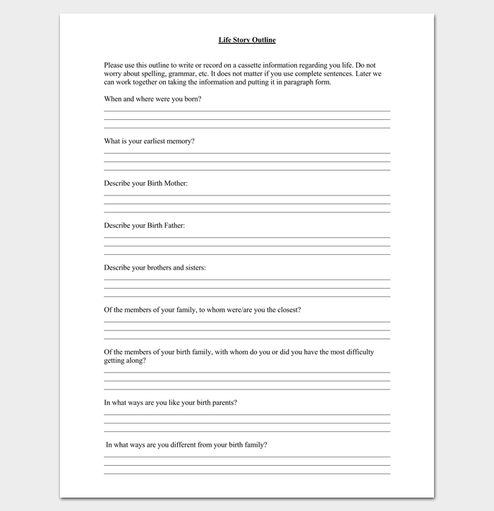 Blank Life Story Outline Format Story Outline Template