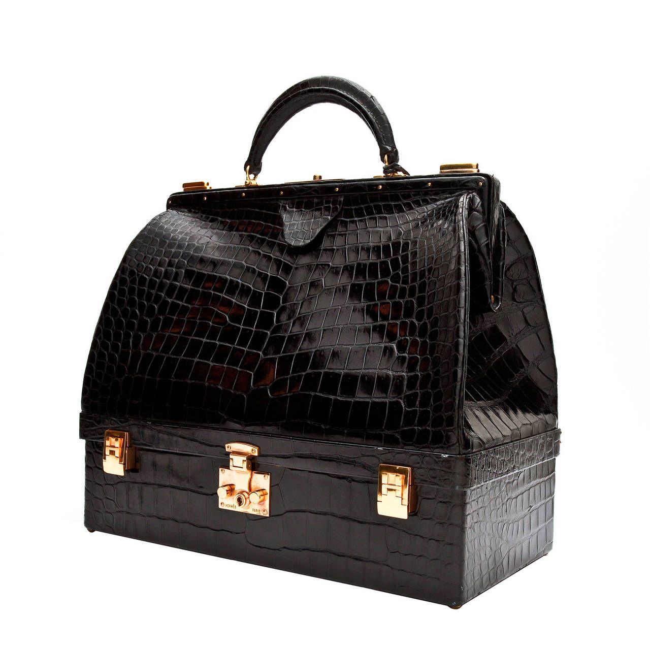 Hermès Black Crocodile Mallette Handbag with Jewel Compartment  bd4421c2c0e49