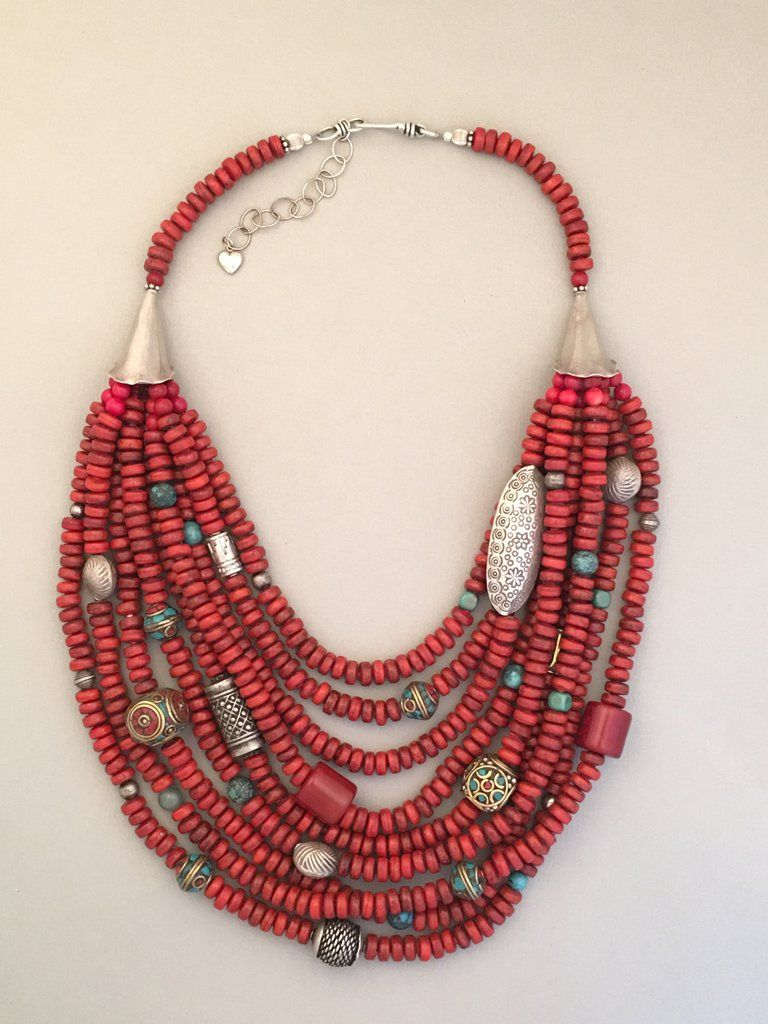 3c09af6a3a6e Multi-Strand Tibetan Glass and Silver Statement Necklace