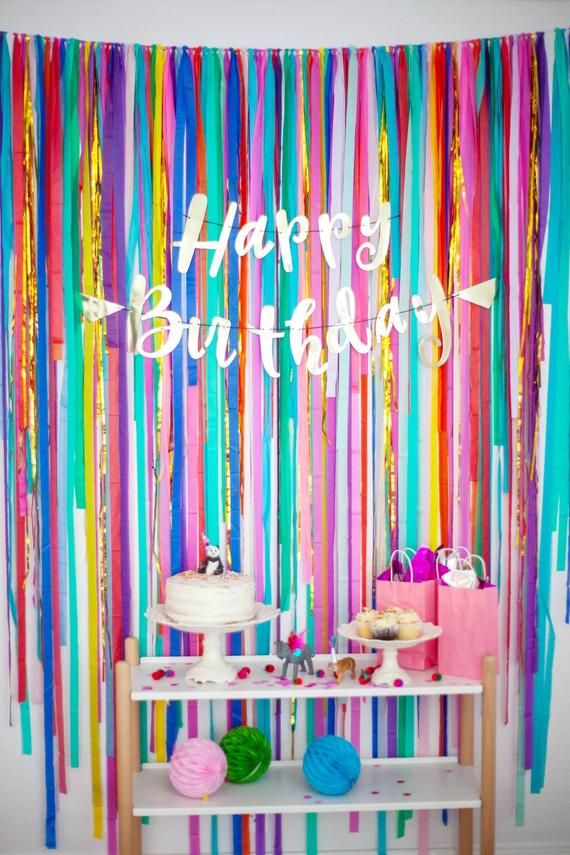 Streamer Backdrop, Fringe Backdrop, Rainbow Party, Party Decorations, Photo Booth, Dessert Table #streamerbackdrop