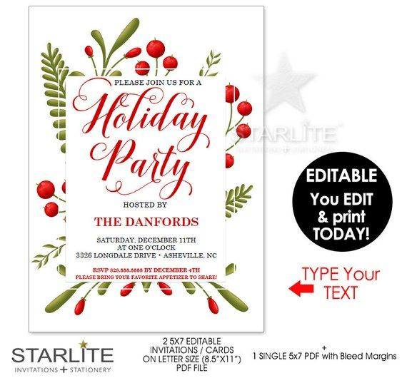 image relating to Printable Holiday Invites known as Holiday vacation Social gathering Invites Fast Obtain EDITABLE, Vacation