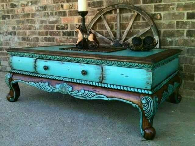 turquoise painted furniture ideas. I Love This Distressed Turquoise Look. _I Purchased Coffee Table From A Local Hand Store, Added New Life To It By Highlighting The Ornate Raised Painted Furniture Ideas R