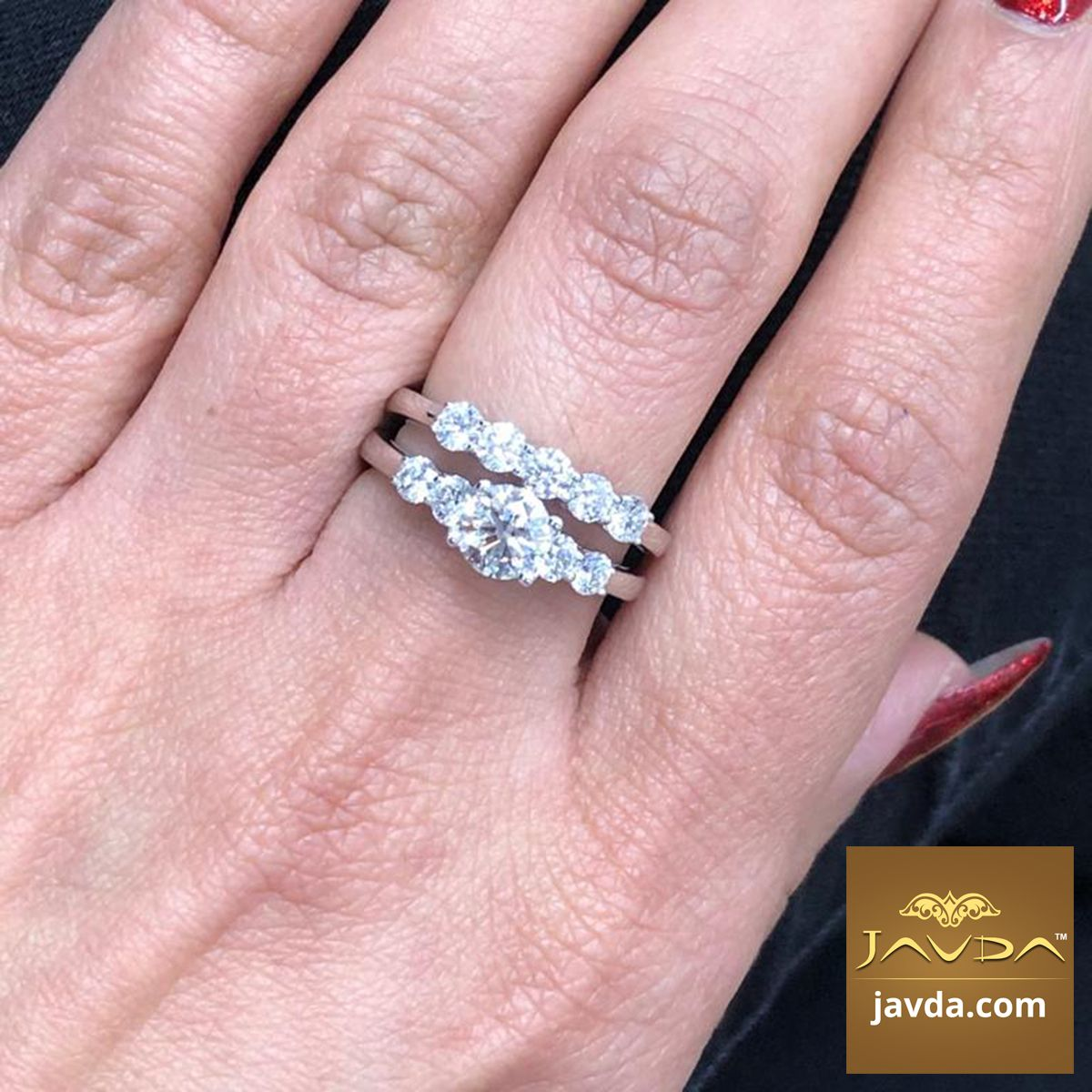 1.75 Carat Round Cut 14k White Gold Over Solitaire 5-Stone Engagement Ring