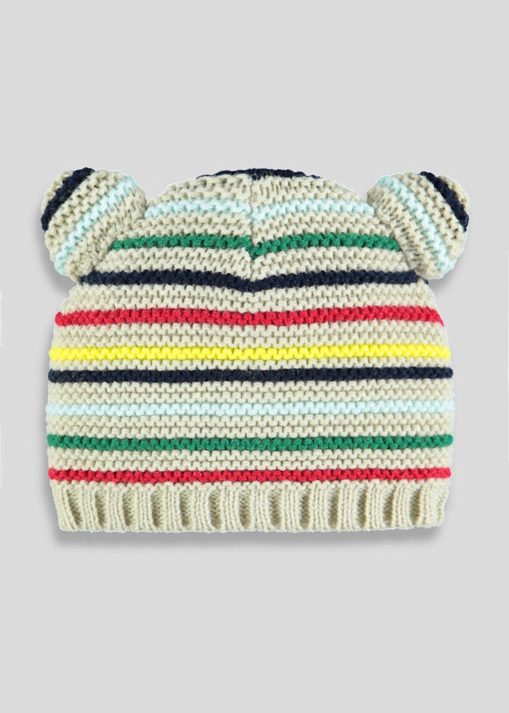 1ab0a544b17d Unisex Stripe Bear Ears Beanie Hat (Newborn-23mths)