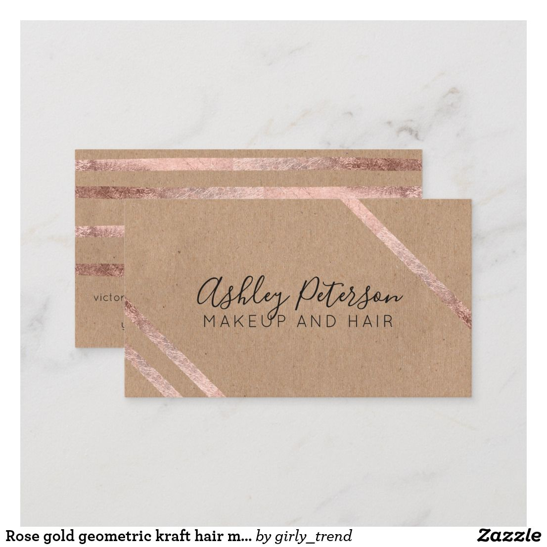 Rose Gold Geometric Kraft Hair Makeup Typography Business Card Zazzle Com Typography Business Cards Beauty Business Cards Simple Business Cards