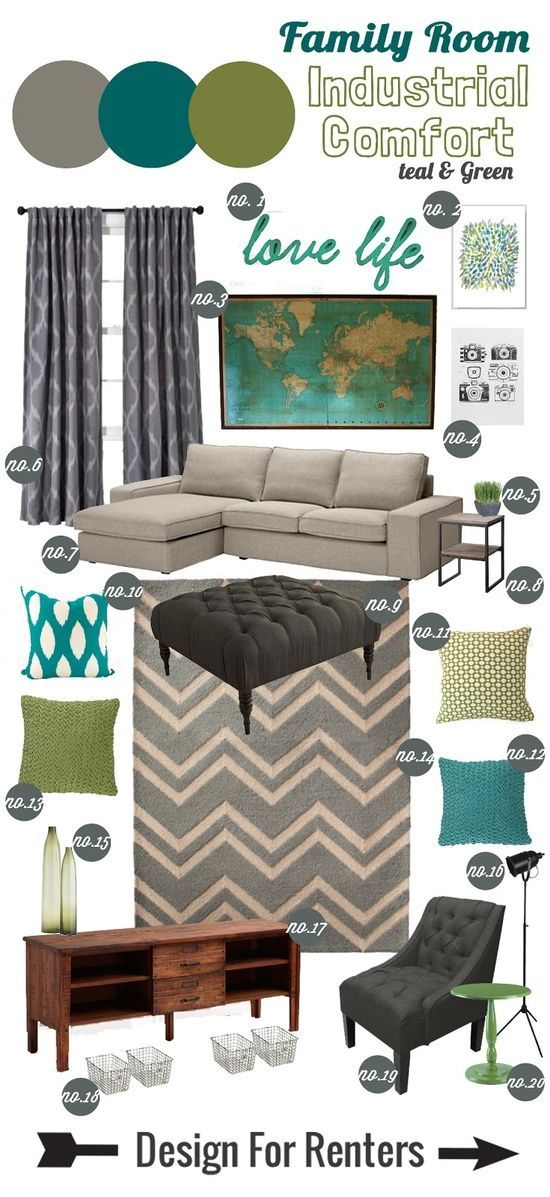 Design For Renters: Mood Boardu003eu003e Industrial Comfort Family Room   Love!  Pretty Much My Current Color Palette! Want To Recover The Couches In Taupe/ Gray :P