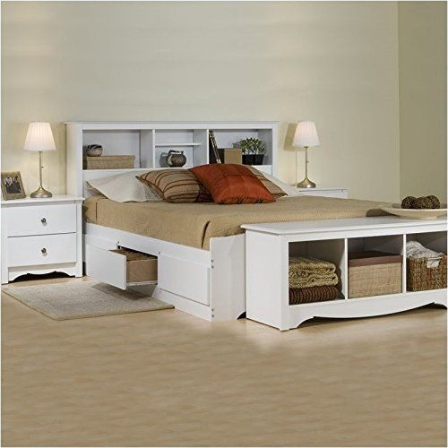 Brand New Prepac Monterey White Queen Wood Platform Storage Bed 3 Piece Bedroom Set Check More