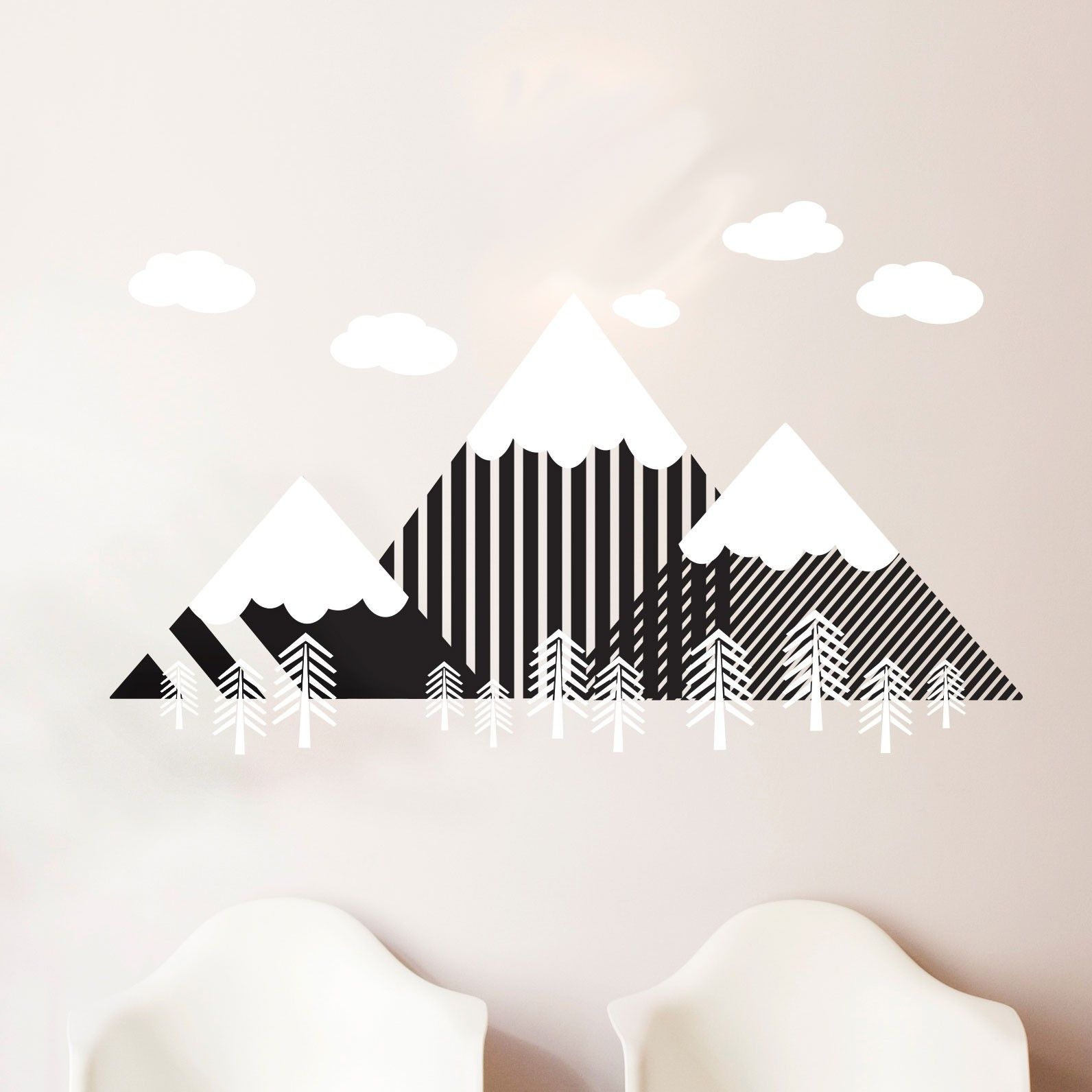 modern geometric mountain and forrest scene  wall decal custom  - modern geometric mountain and forrest scene  wall decal custom vinyl artstickers for nurseries