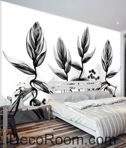 Beautiful dream black and white art transparent charming leaves