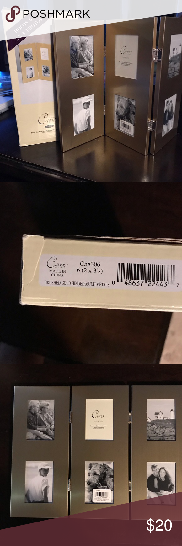 CARR Boxed Brushed Metal Hinged frames 6 (2x3)'s NIB CARR