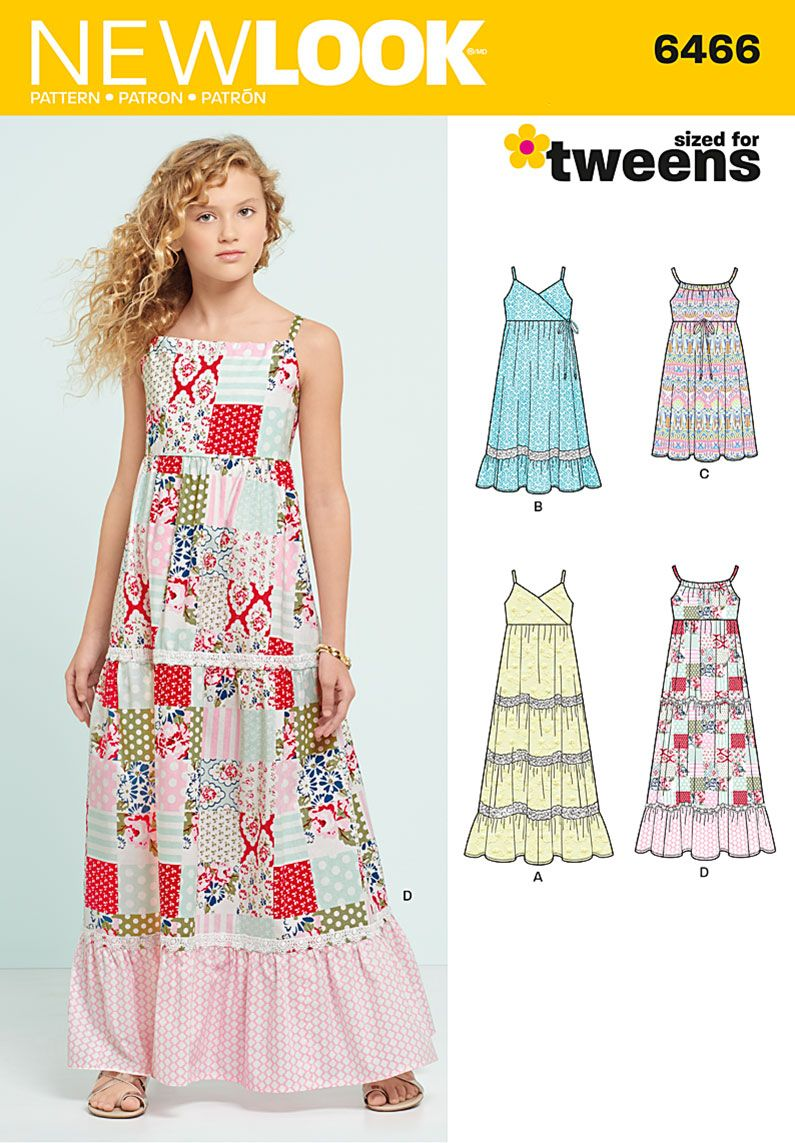 Young girls will love this cool flowing maxi dress for the summer new look sewing pattern 6466 girls dresses with trim bodice and lace variations jeuxipadfo Images