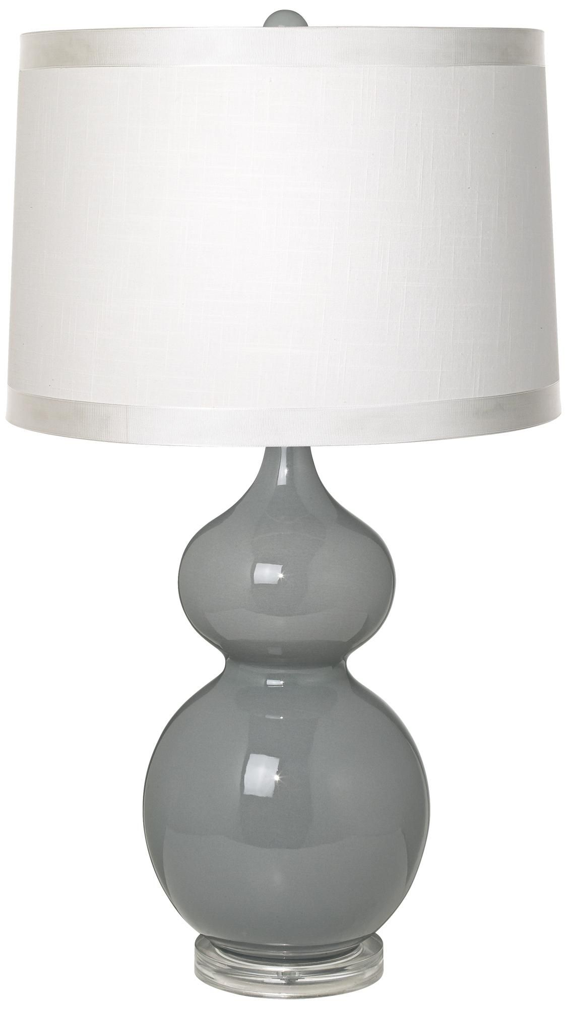 White Drum Shade Double Gourd Slate Grey Ceramic Table Lamp