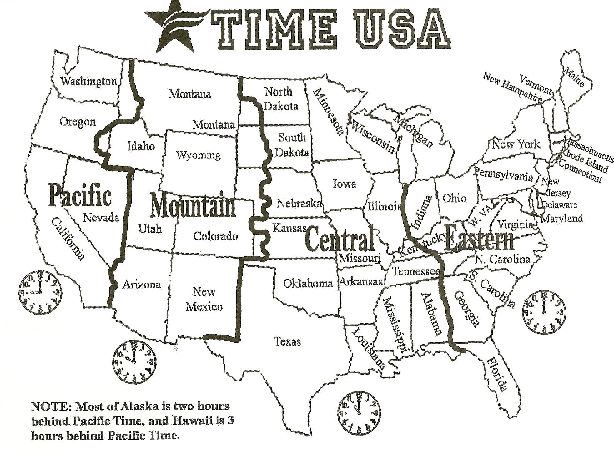 Black And White Us Time Zone Map