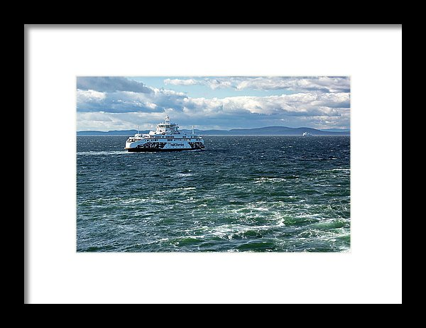 Alex Lyubar Framed Print featuring the photograph Ferry In The Strait Of Georgia by Alex Lyubar #AlexLyubarFineArtPhotography#VancouverCanada#SeaScape#StrateOfGeorgia#BCFerry#Travel#BlueWater#Waves#BlueSky#ArtForHome#HomeDecor#ArtPrintForSale