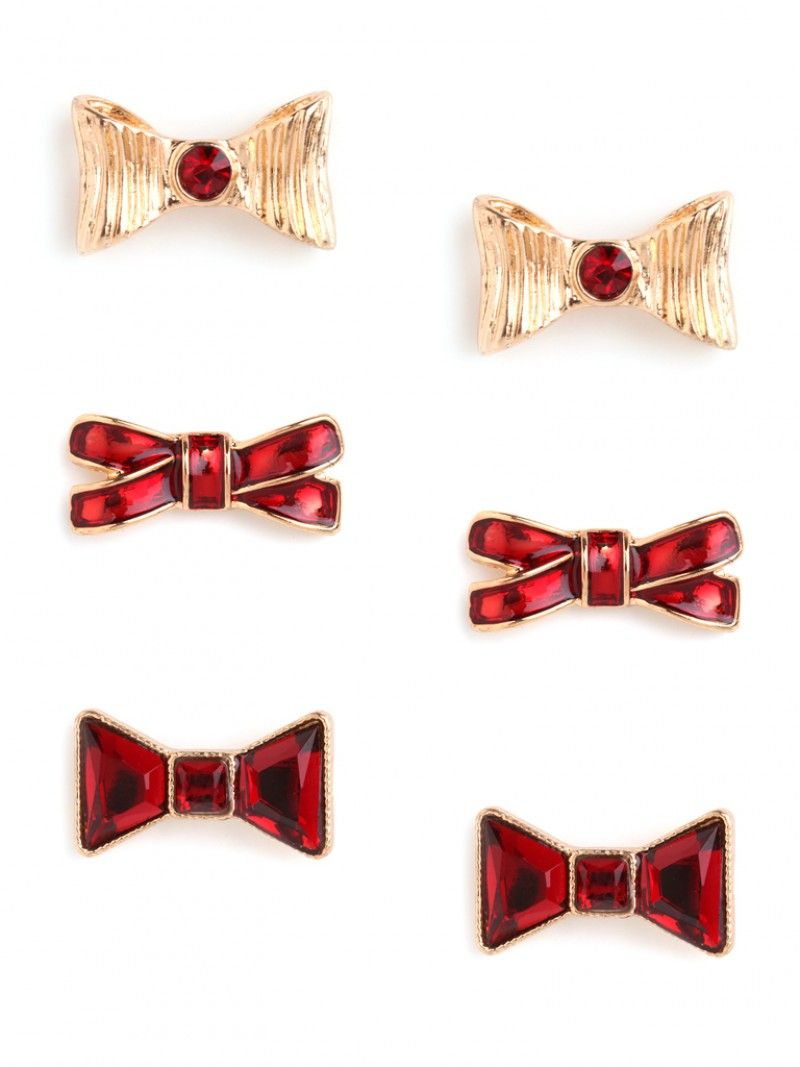 ruby bow earring trio :: gift guide worthy!