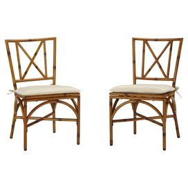 """@Lindsey Rowe Set of two bamboo-inspired side chairs with weather-resistant cushions.   Product: Set of 2 chairsConstruction Material: Aluminum and polyesterColor: Light naturalFeatures:   Cushions included19.25"""" Seat height each Dimensions: 35.5"""" D x 19"""" W x 19.25"""" D each"""