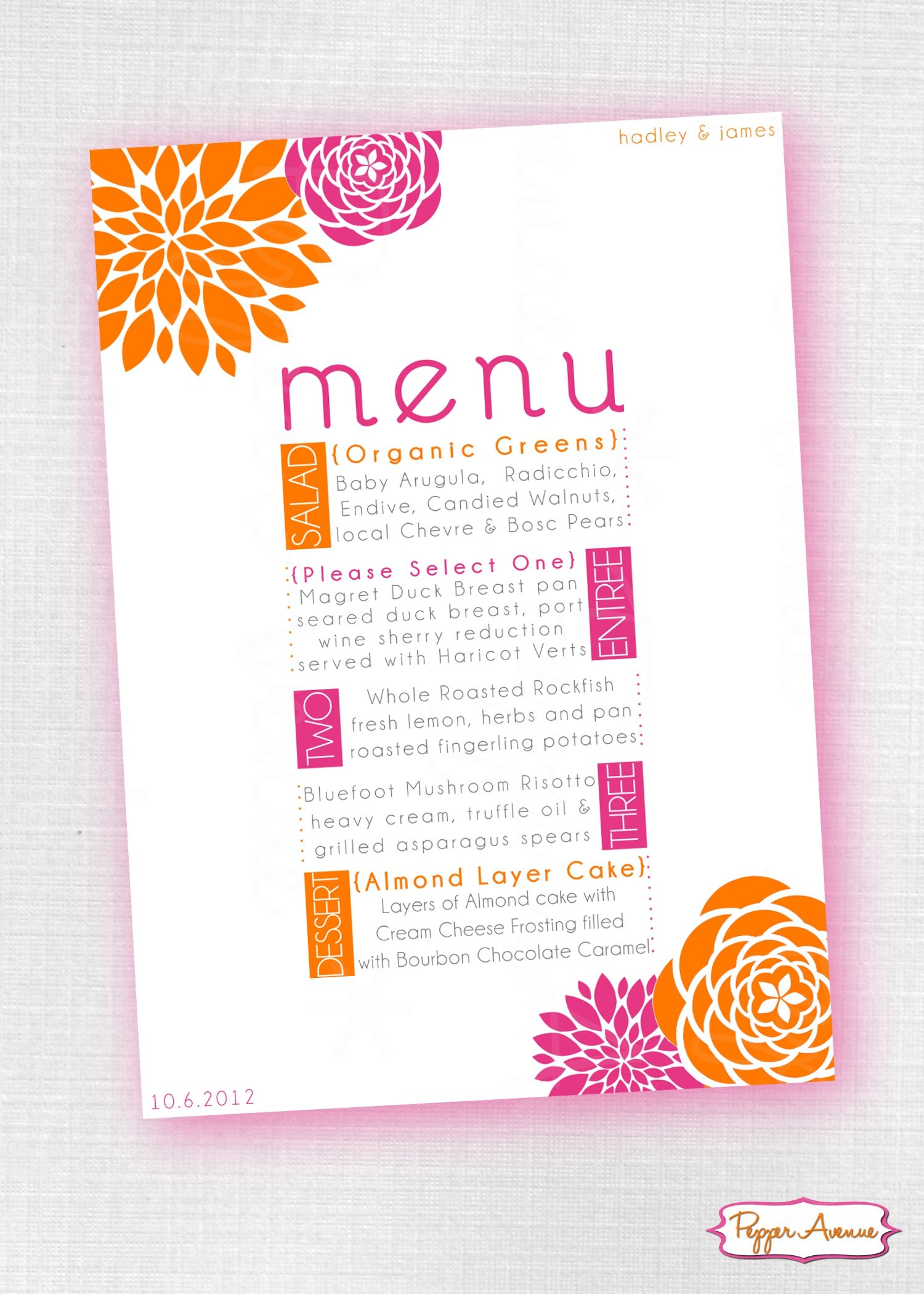Pink and Orange Party Invite and/or Wedding Menu www.facebook.com ...