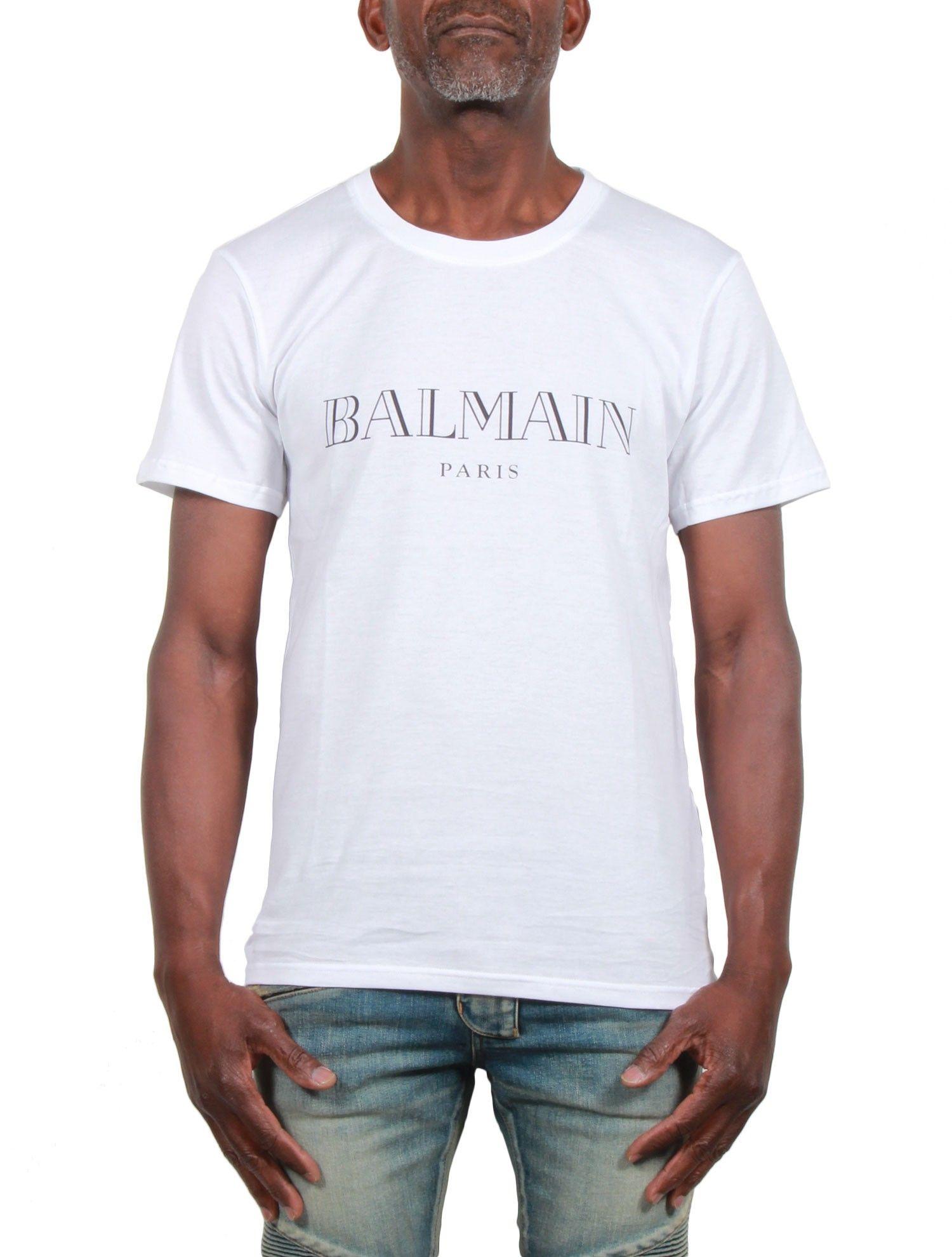 Tee-shirt Homme Manches Courtes BALMAIN - Imprimé Logo - Blanc - serie ||