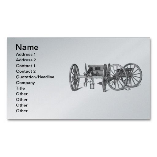 Revolutionary War Cannon Business Card Printed On A Silver Background And Ready To Customize Many Backgr Printing Business Cards Business Card Template Cards