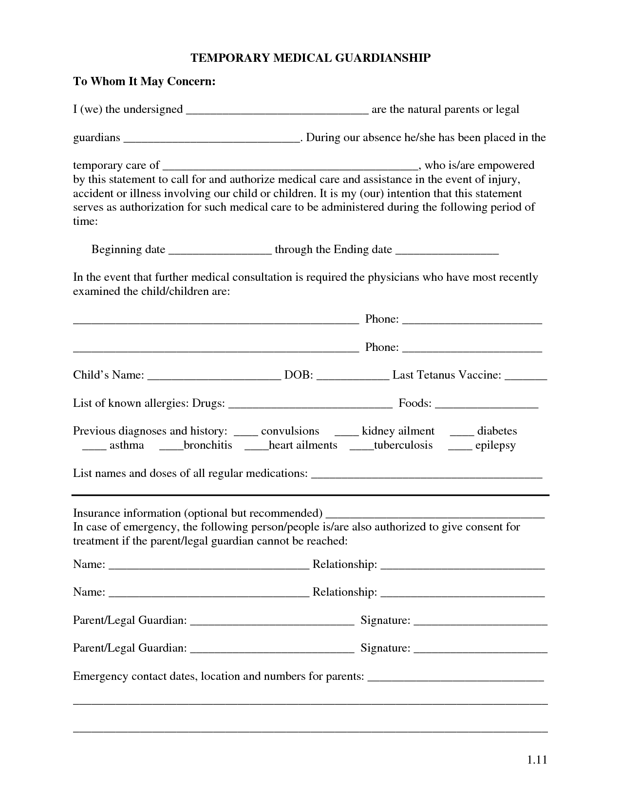 Free Printable Temporary Guardianship Forms With Images