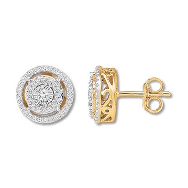 Diamond Circle Earrings 1 4 Carat Tw 10k Yellow Gold Circle Earrings Earrings White Earrings