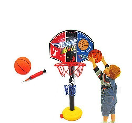 Ru Bing Kids Sports Portable Basketball Hoop Toy Set With Stand Ball Pump Toddler Baby Portable Basketball Hoop Ball Pump Basketball Hoop