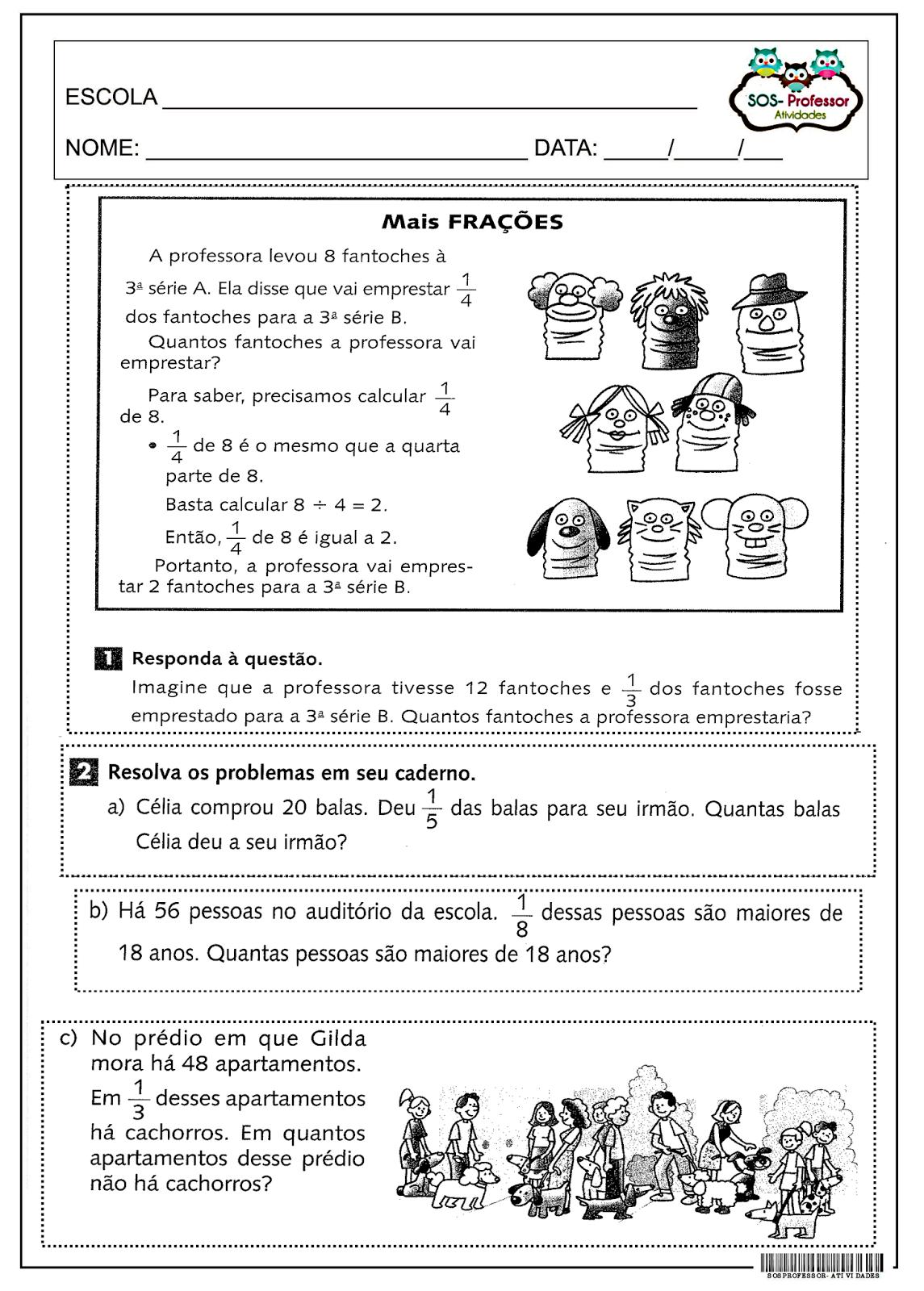 Mais fração 4 º e 5 º ano, Fração, Matemática