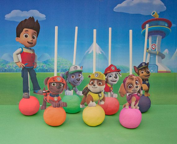Paw Patrol Cake Pop Toppers Printable Digital All 7 Characters Also Works As Cupcake Picks