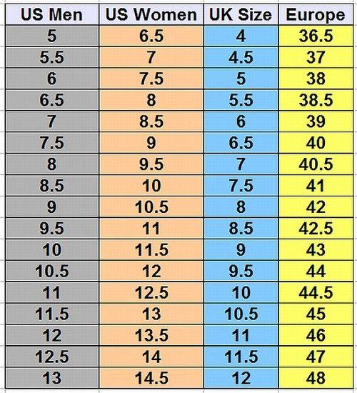 Shoe Size Conversion Chart Size 10 Women Shoes Men Shoes Size