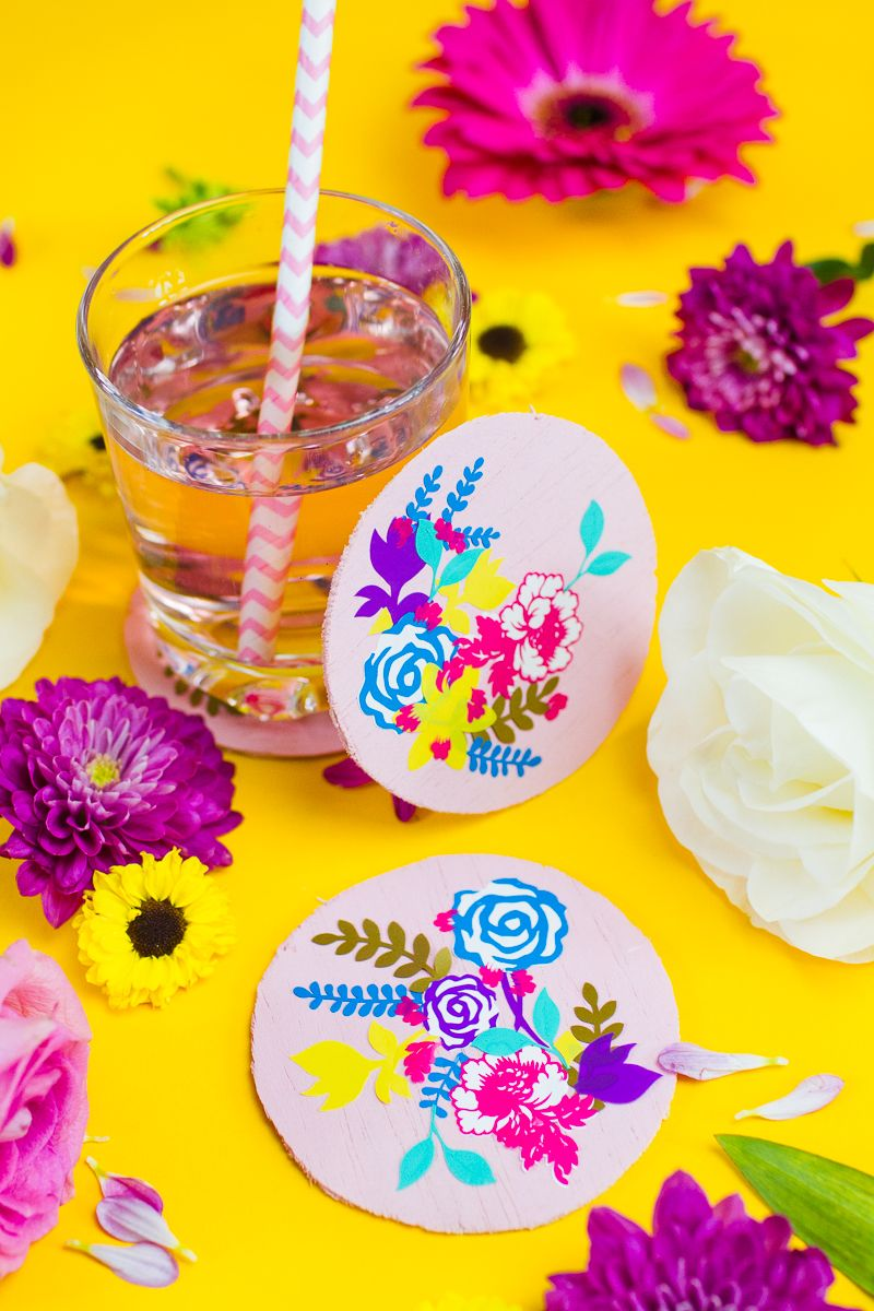 Diy floral coasters for your table decor or wedding favours cricut