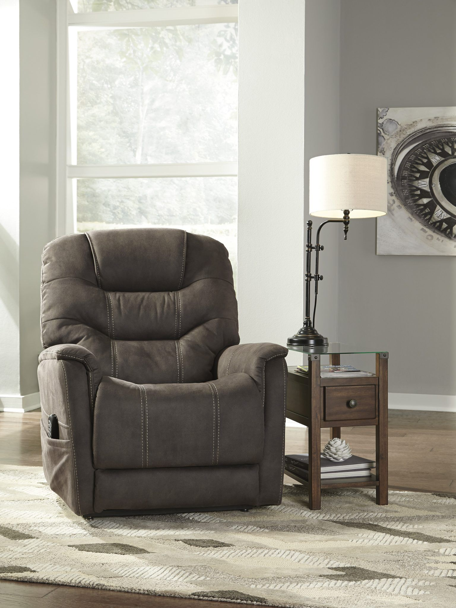 Power Lift Recliner Ballister Gunmetal Complete Suite Furniture Lift Recliners Ashley Furniture Rocker Recliners