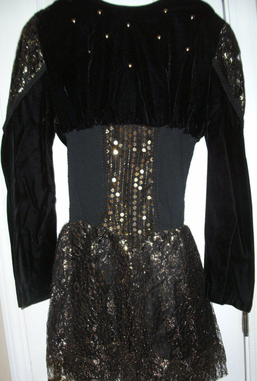 Sz s sheath dress w glitter cocktail bodycon blackgold knee