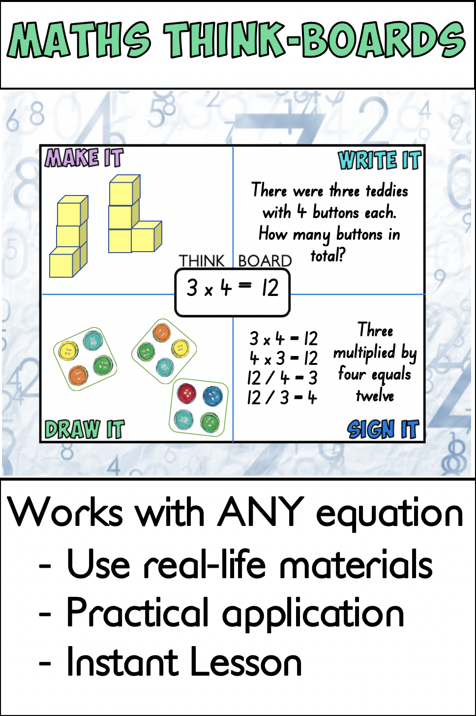 Math Thinkboards Elementary Special Education Activities Math Math Lessons [ 1454 x 968 Pixel ]