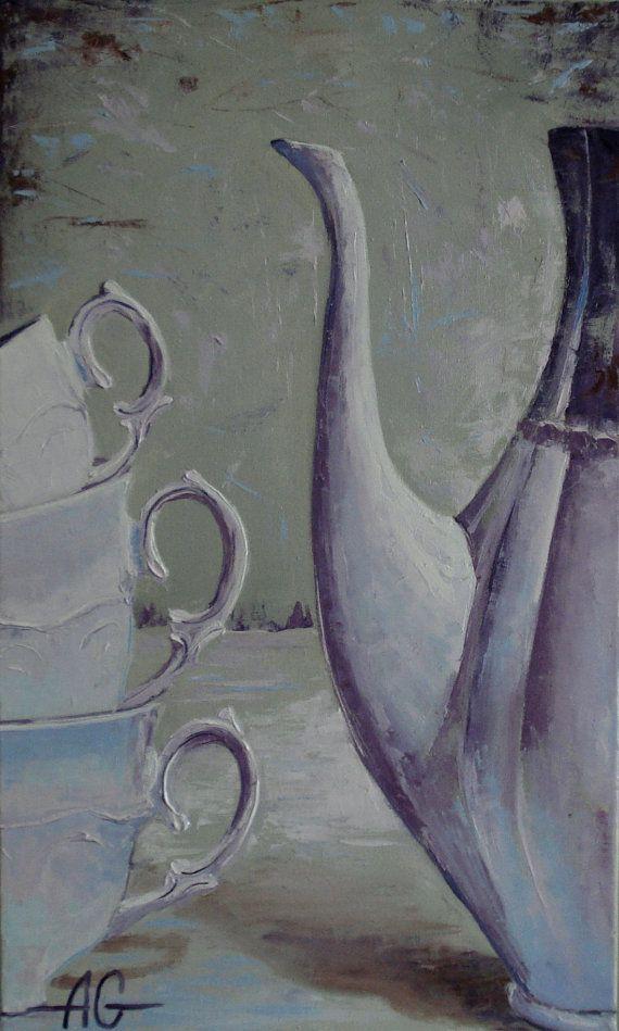 I wait you to tea Oil painting.  / Жду от PaintingForHappyness