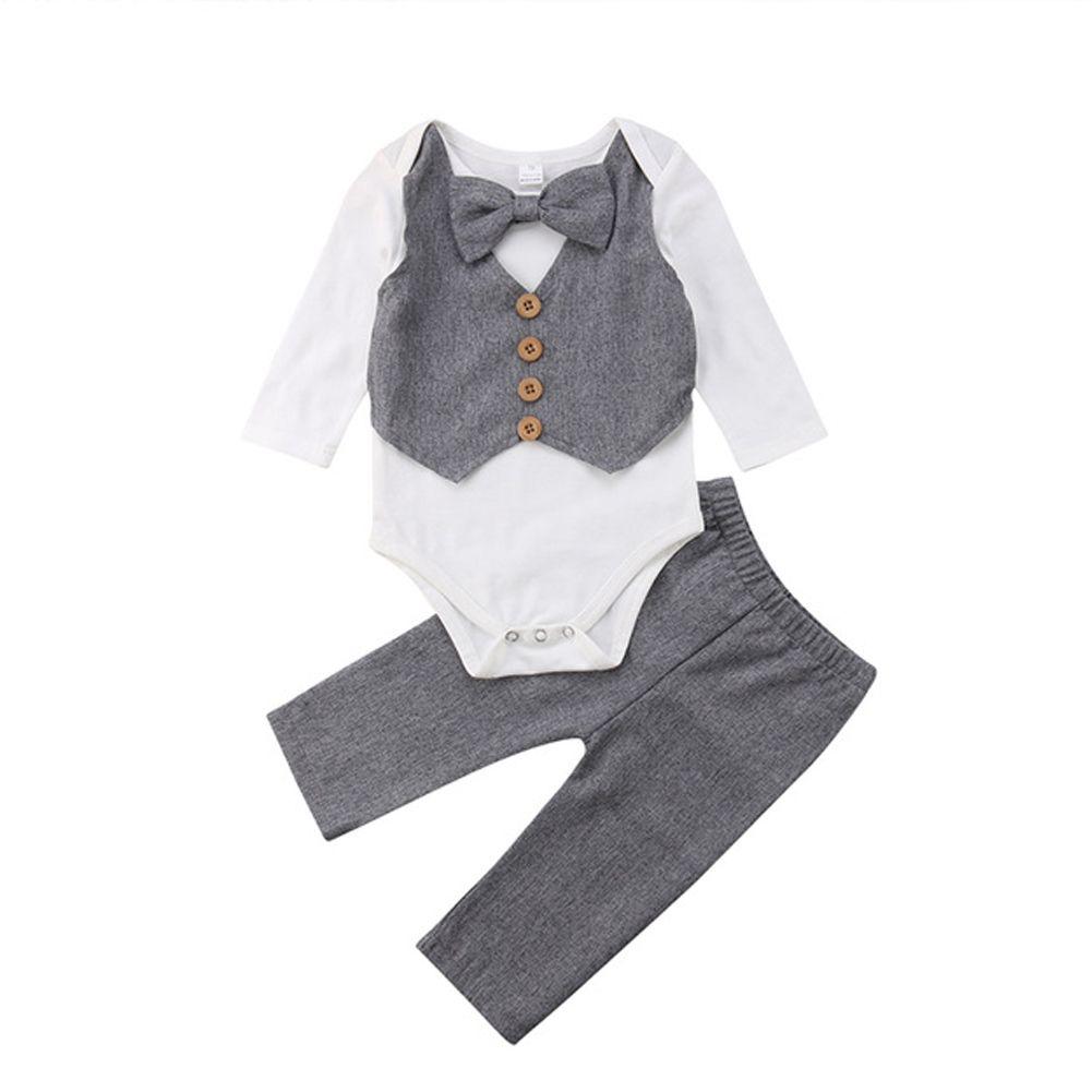 Kids Baby Boy Gentleman Bow Tie Shirt Tops Romper+Pants Party Formal Set Clothes