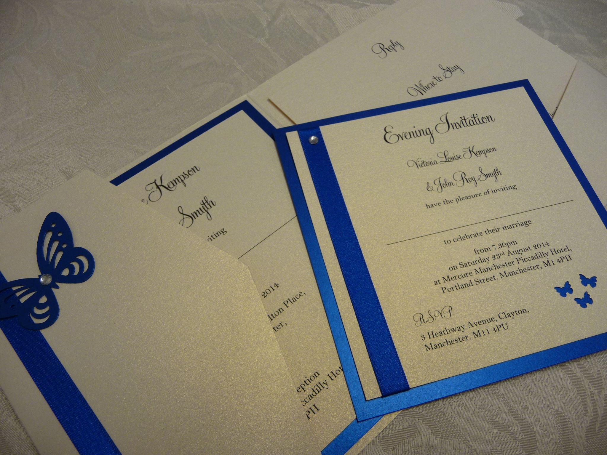 Royal Blue Butterfly Themed wedding invitations | Wedding ...