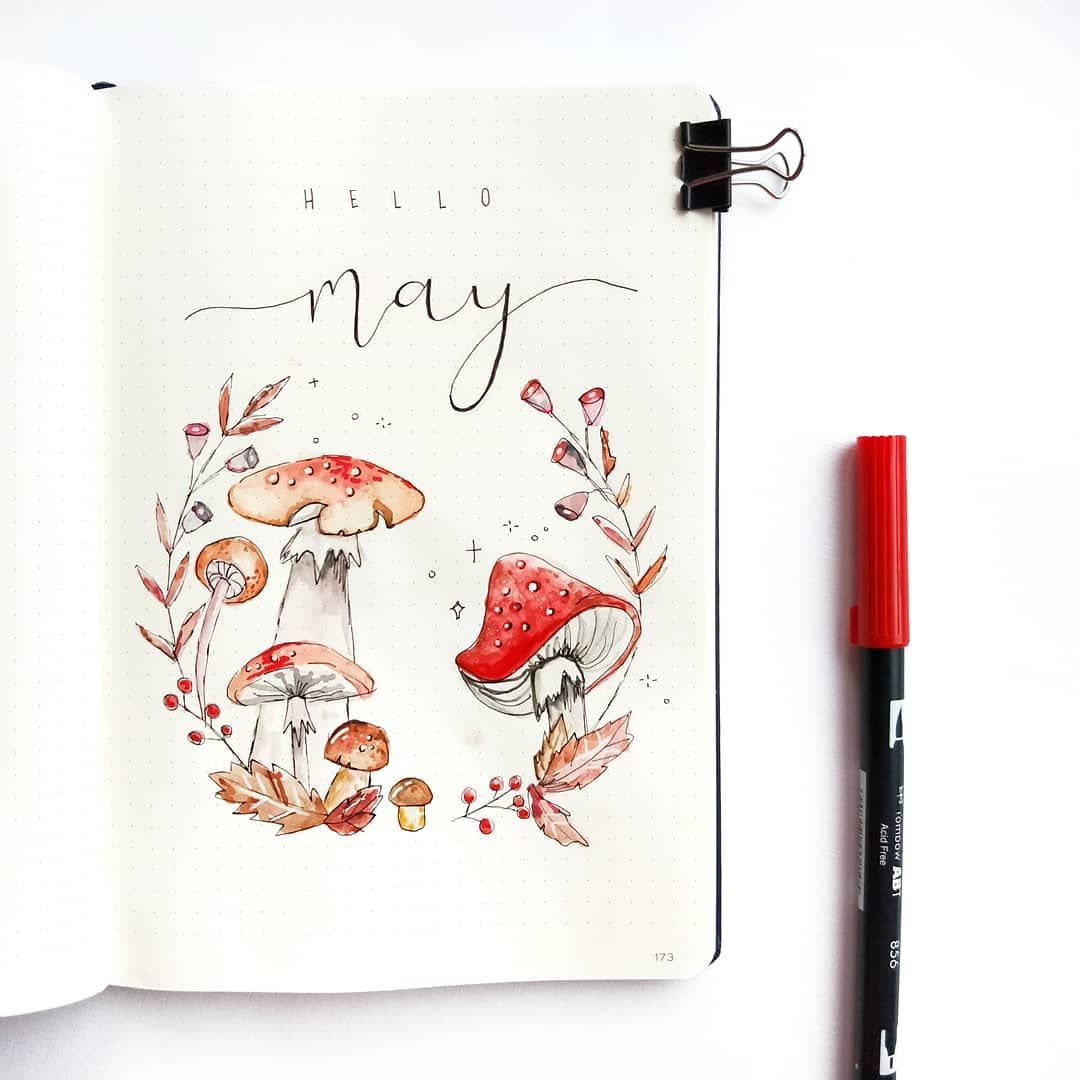 "Bujo and watercolour on Instagram: ""Hello May � I chose to do a toadstool theme for May and had so much fun playing around with my water colours for this theme! What is your…"""