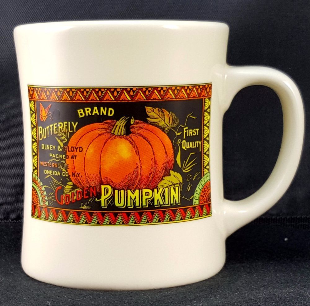 starbucks barista halloween golden pumpkin mug 2003 white xlg 4.5