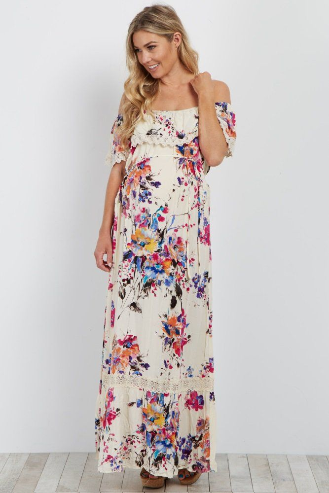 For The Perfect Spring Dress A Maternity Maxi Is Just Number You Are Looking Flattering Cinched At Waist Style And Crochet Trim Make This
