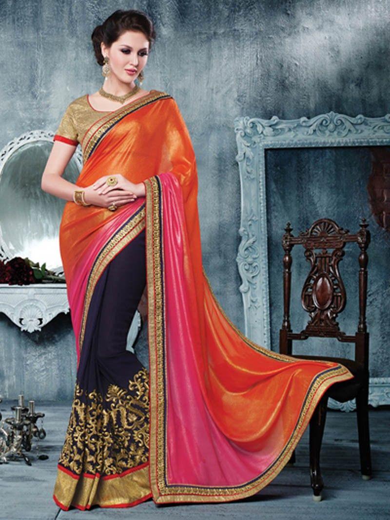 0e3284797968f Blue with Shaded Orange Heavy Embroidery Saree 1003SS