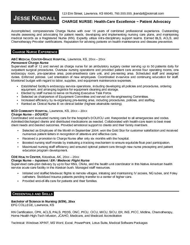 resume sample er nurse