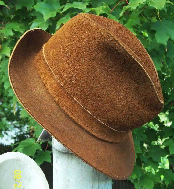 1970's Men's or Women's Boho Hippie Leather / Rawhide Hat - Rat Pack - Indiana Jones - Fedora by Skullys - LoveItSoMuch.com
