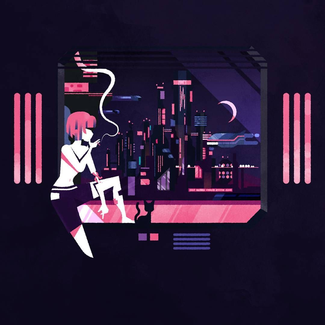 I Adore All Those Pixelart Cyberpunk Cities So I Thought Why Not Vector Let Me Know What You Think Illustrator Illustration Illu Drawing Drawings Digi